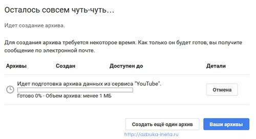 создание архива youtube