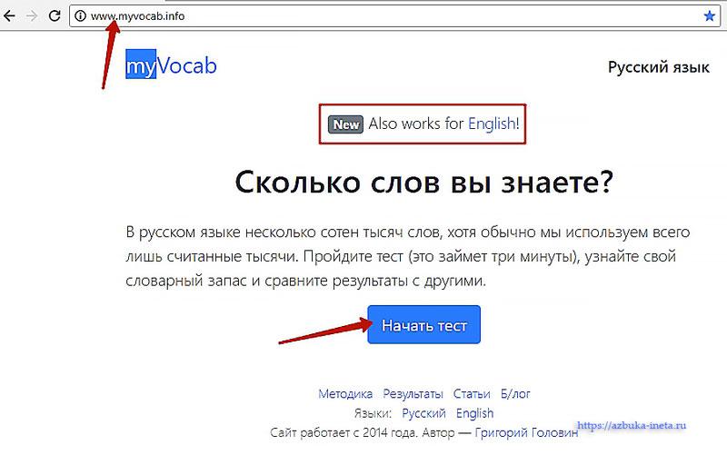 Главная страница Теста словарного запаса